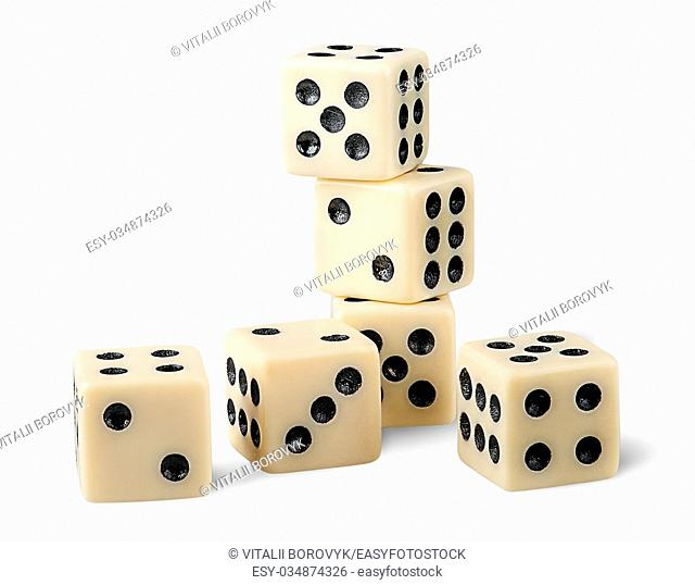 Six gaming dice isolated on white background