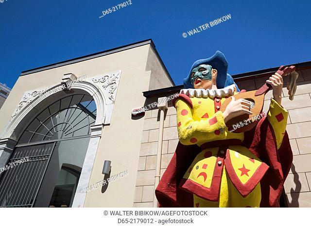 Greece, Peloponese Region, Patra, Patra Carnival Museum, exterior sculptures