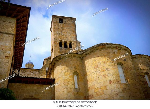 View of the apses and quadrangular tower, Monastery of San Salvador de Leire, Romanesque architecture IX Century Navarra, Spain