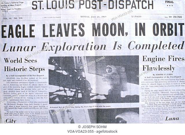 St Louis Post-Dispatch newspaper displays Apollo 11 moon mission, July 21, 1969