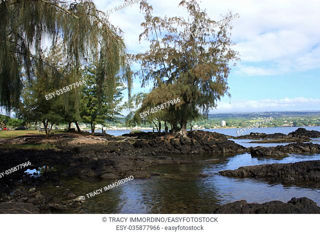 Low tide at a park on Hilo Bay in Hilo, Hawaii