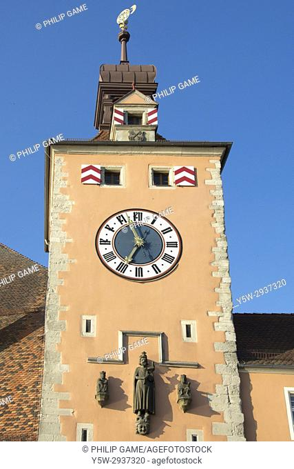 Bruecketurm or Bridge Tower on the bank of the Danube (Donau) at Regensburg, Bavaria, Germany