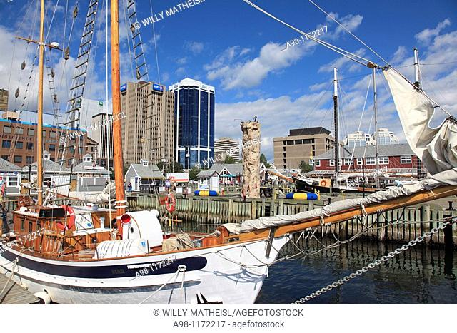 Sailing boat mooring at the Harbour Walk of Halifax, Nova Scotia, Canada, North America