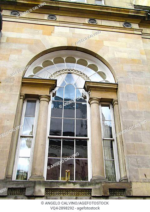 Window of historic buildings in central Glasgow, Scotland