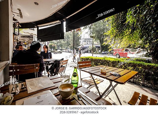 Street scene in the mornig at Polanco, Mexico City
