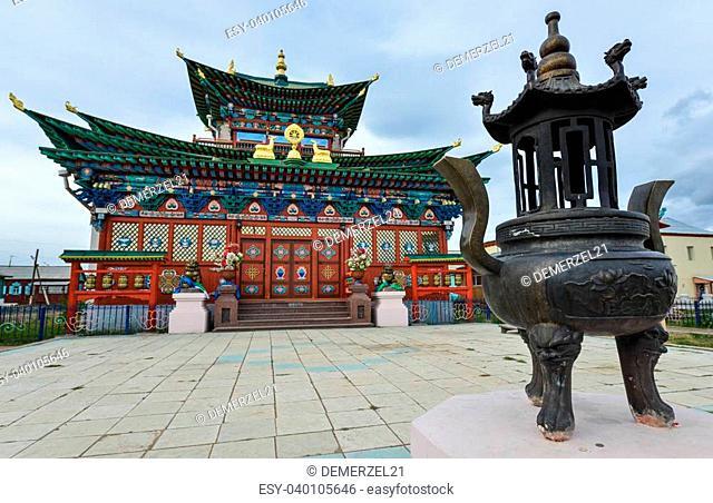 Ivolginsky Datsan - One of the largest Buddhist monasteries in Russia. Entrance to the monastery. Republic of Buryatia, Russia close to the border of Mongolia