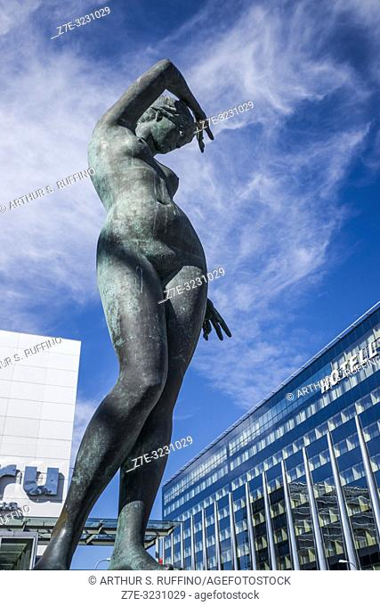 """""""""""Twilight"""" (Hämarik) sculpture by Mare Mikoff adjacent to Viru Shopping Center (Viru Keskus). Tallinn, Estonia, Baltic States"