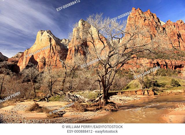 Red Rock Canyon Court of Patriarchs Virgin River Zion National Park Utah Southwest