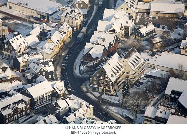 Aerial photo, historic town centre of Bad Laasphe with half-timbered houses in the snow in winter, North Rhine-Westphalia, Germany, Europe