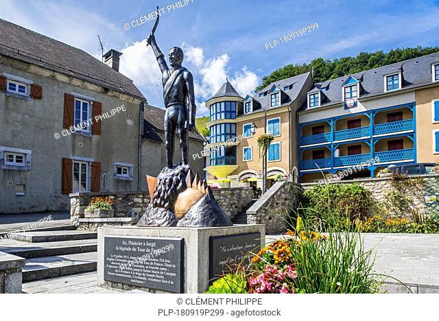 Statue of French Tour de France cyclist, Eugène Christophe / Le Vieux Gaulois at Sainte-Marie-de-Campan, Hautes-Pyrénées, France