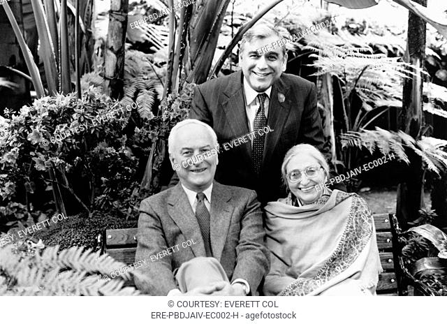 JAMES IVORY with ISMAIL MERCHANT and RUTH PRAWER JHABVALA during production of JEFFERSON IN PARIS, 1995