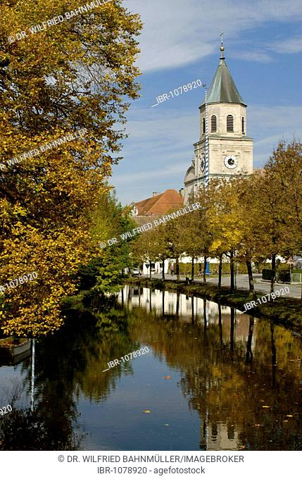Ettlinger Bach, creek in front of Polling Abbey, former Monastery of the Augustinian Canons Regular, Polling, Pfaffenwinkel, Upper Bavaria, Germany, Europe