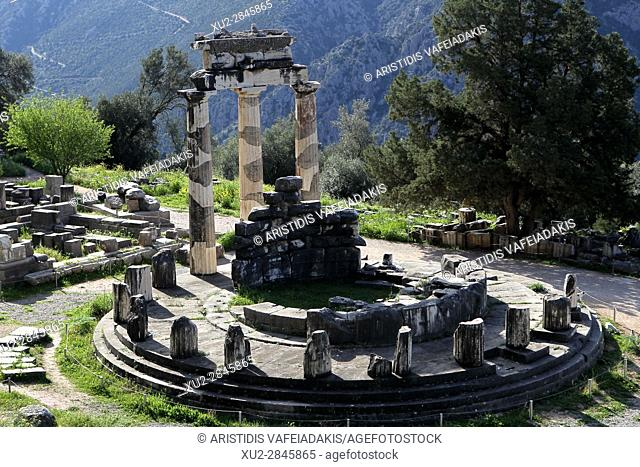 The Tholos at the sanctuary of Athena Pronaia, a circular building with Doric columns 380 BC . Delphi Greece