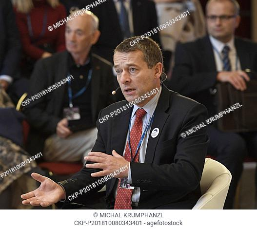 Executive Director of the People in Need humanitarian organization Simon Panek attends the 22nd Forum 2000 international conference in Prague, Czech Republic