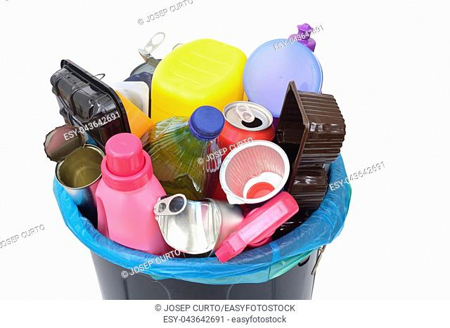 recycling of plastic containers and tin cans on white background