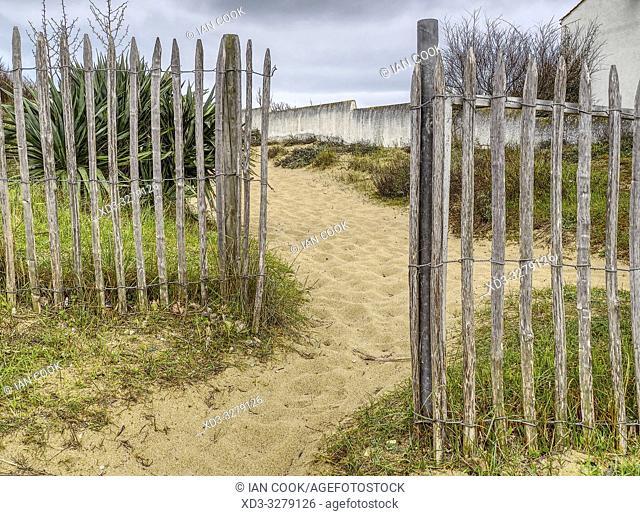 entrance to beach at La Cotiniere, Ile dâ. . Oleron, Charante-Maritime Department, Nouvelle Aquitaine, France