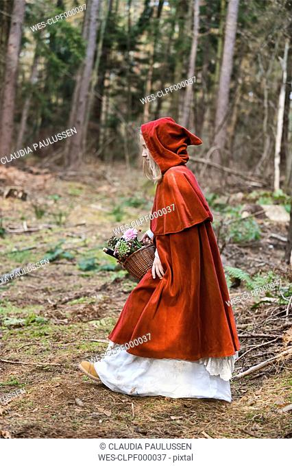 Girl masquerade as Red Riding Hood on the move in the wood
