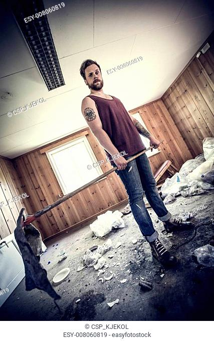 Punk rocker clean up after party