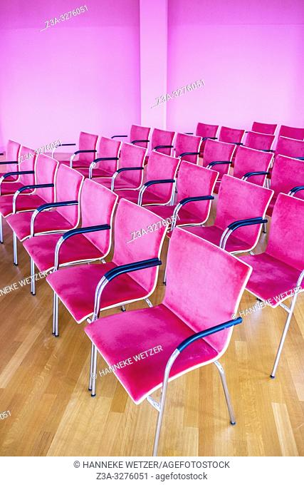 Pink chairs in museum Depot, Wageningen, the Netherlands, Europe