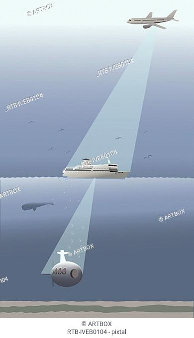 Search light from an airplane on a cruise ship
