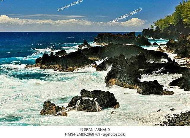France, Reunion Island, Piton Sainte Rose, marine natural landscape, horizontal view of tropical coastline