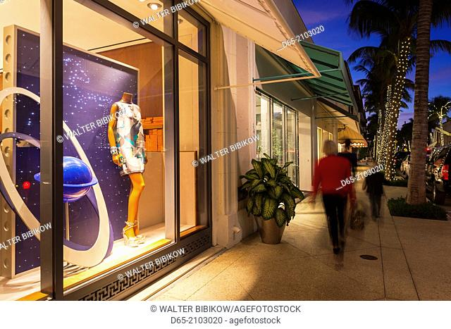 USA, Florida, Palm Beach, Worth Avenue, boutique exterior, dusk