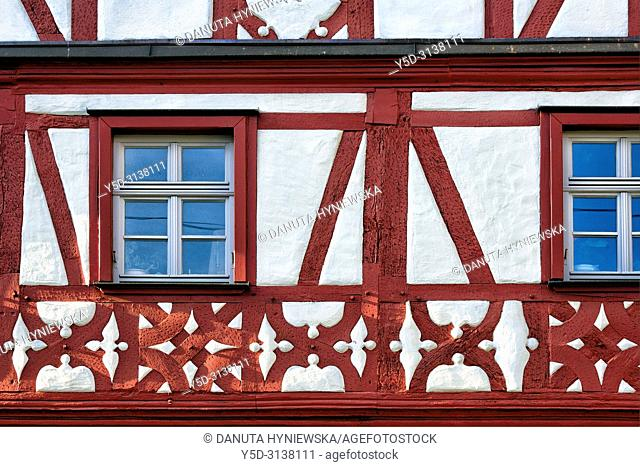Close-up of facade of half-timbered house at Sattlertorstrasse, historic part of Forchheim, Forchheim, Franconian Switzerland, Upper Franconia, Franconia