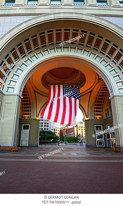 Massachusetts, Boston, Archway entrance to Rose Kennedy Greenway