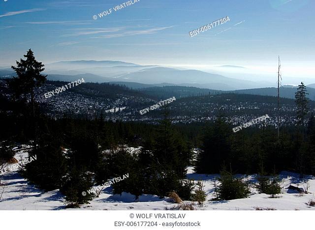 Landscape over Vltava Riverhead, Sumava National Park, the Southern Bohemia, Czech Republic
