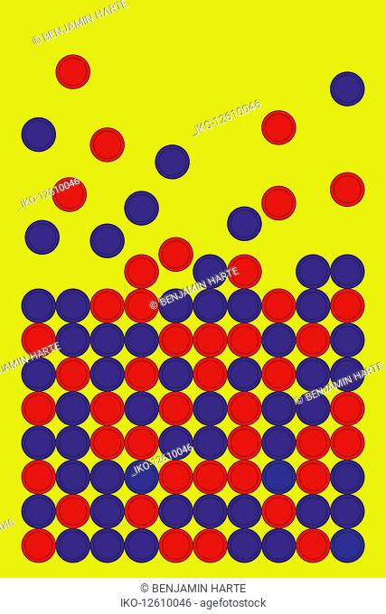 Red and blue counters falling into pattern