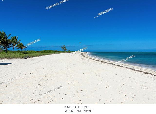 Long white sand beach in northern Providenciales, Turks and Caicos, Caribbean, Central America