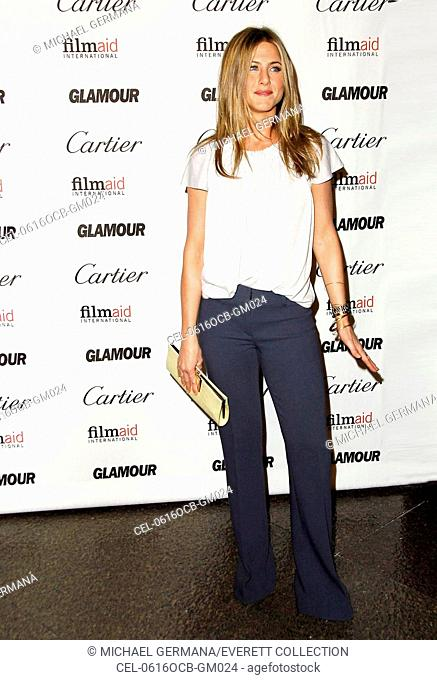 Jennifer Aniston at arrivals for Glamour Reel Moments Benefit Screening for Filmaid International presented by Cartier, DGA Director's Guild of America Theatre