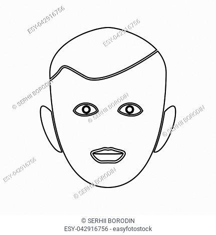Little boy face it is black color path icon