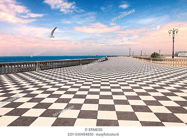 Mascagni Terrace at dawn, promenade of Livorno, Tuscany, Italy - picturesque seashore on the Ligurian sea with black and white checkered pavement and columned...