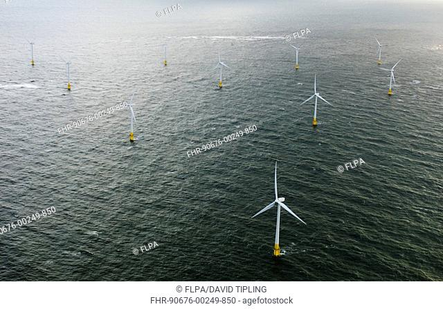 Aerial view of off-shore windfarm, wind turbines at sea, Scroby Sands, Great Yarmouth, Norfolk, England, october