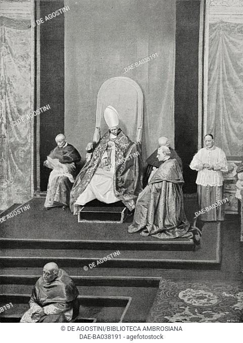 Pope Pius X (Giuseppe Melchiorre Sarto, 1835-1914) in the Sistine Chapel on the occasion of the funeral ceremony in memory of Leo XIII, July 20, 1910, Vatican