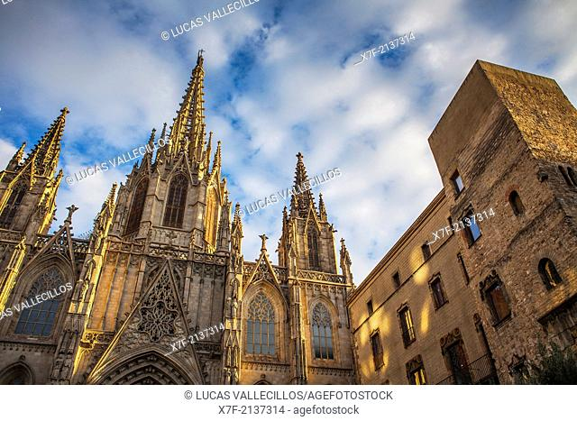 Cathedral of Barcelona or Cathedral of Santa Eulalia.Barcelona. Catalonia, Spain