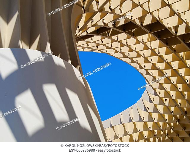 Detail of Metropol Parasol on La Encarnacion Square in Seville, Andalusia, Spain