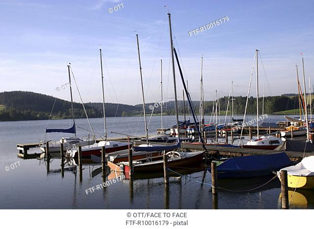 Small group of boats anchored near the dock