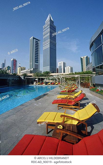 View from pool of Emirates Towers Hotel to The Tower Sheikh Zayed Road Dubai United Arab Emirates