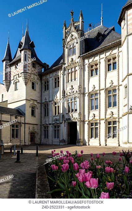 Courtyard of City Hall. Saumur, Maine et Loire, Pays de la Loire Region, Loire Valley, France, Europe