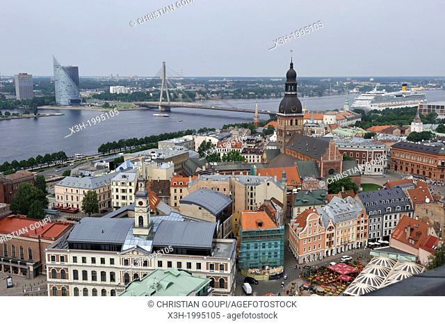 aerial view over the Daugava River and the Dome Cathedral from St Peter's Church tower, Riga, Latvia, Baltic region, Northern Europe