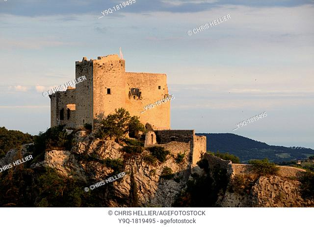 Sunrise over the Medieval Castle or Château at Vaison-la-Romaine Vaucluse Provence France