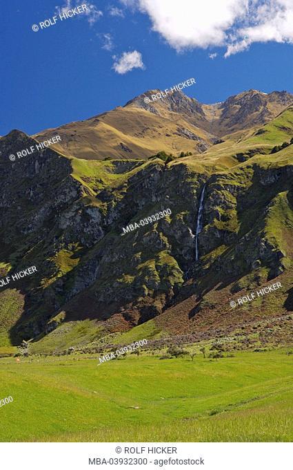 New Zealand, South-island, Central Otago, Treble Cone, waterfall, destination, sight, nature, landscape, mountains, ski-area, rocks, water, season, summer