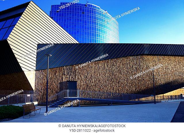 World Intellectual Property Organization headquarters - Organisation mondiale de la propriété intellectuelle - in front new new buildings, Geneva, Switzerland