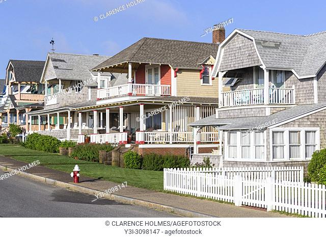 Homes, many available for summer rentals, on Ocean Avenue in Oak Bluffs, Massachusetts on Martha's Vineyard