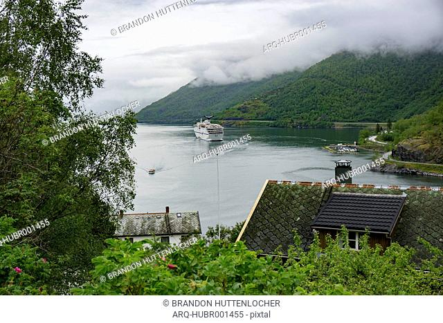 View Of Fjord And Cruise Ship At Flam In Norway