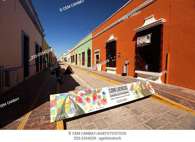 Street scene from the historical center of Campeche, Campeche Region, Yucatan, Mexico, Central America