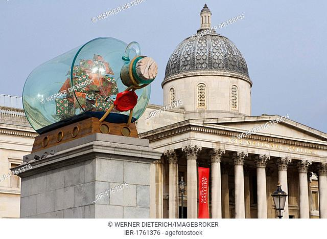 Work of art by Yinka Shonibare in front of The National Gallery, Museum, Trafalgar Square, London, England, United Kingdom, Europe