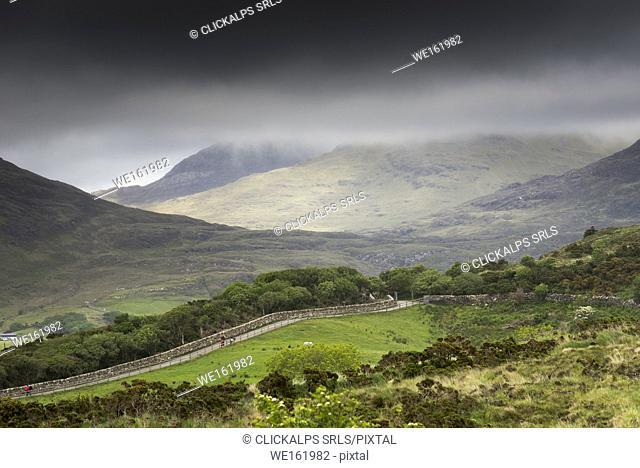 Ireland, Letterfrack, Connemara National Park, Co. Galway, Ireland. Foggy day